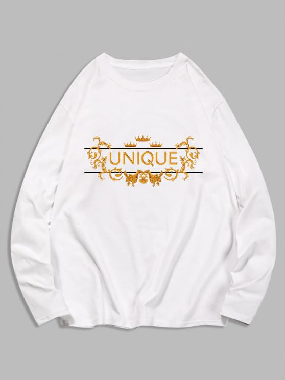 Unique Graphic Leisure Crew Neck T Shirt - أبيض M