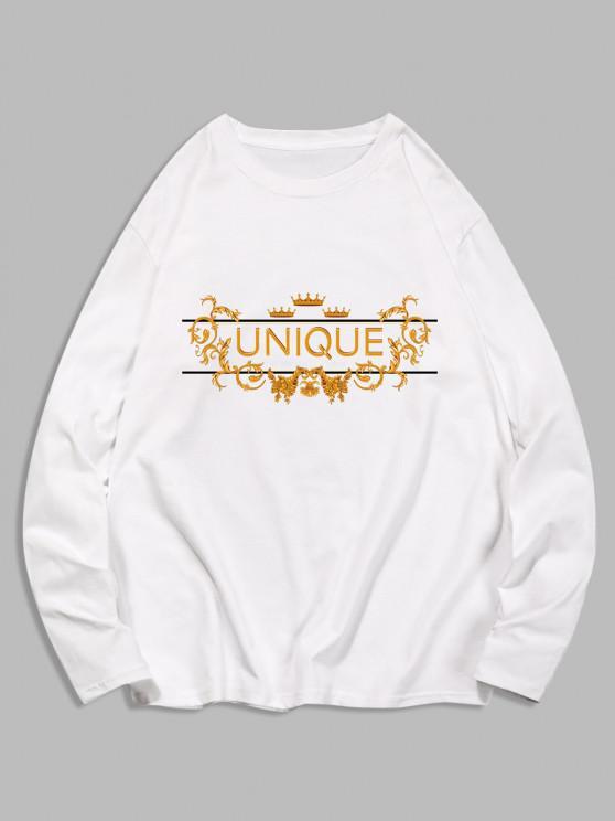 ladies Unique Graphic Leisure Crew Neck T Shirt - WHITE XL