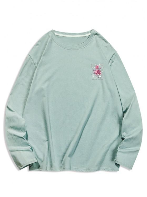 Camiseta Casual Floral con Cuello Redondo y Estampado de Letras - Turquesa Oscura XL