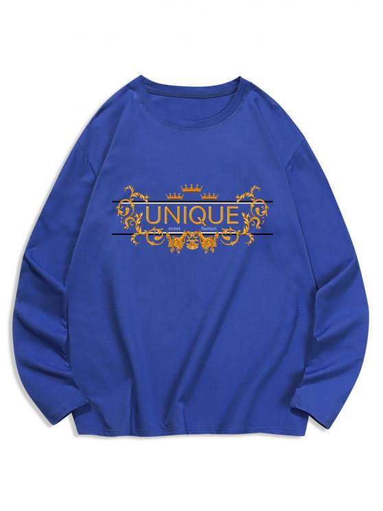 outfits Unique Graphic Leisure Crew Neck T Shirt - NAVY BLUE 2XL