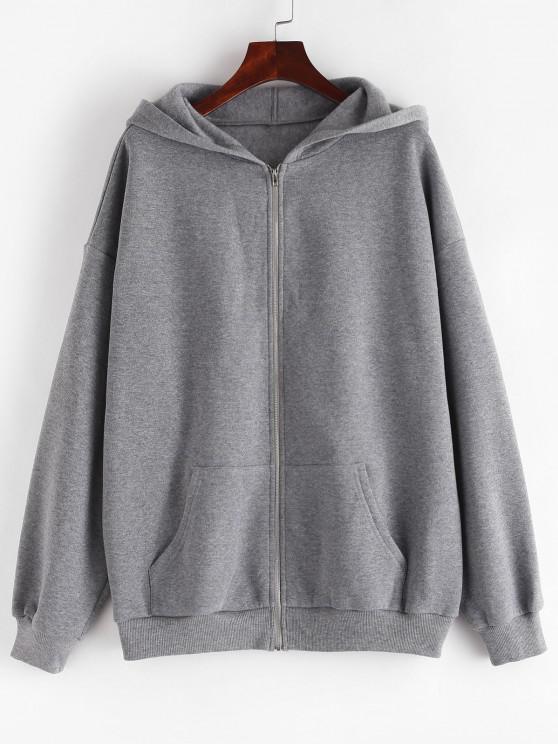 chic ZAFUL Fleece Lined Drop Shoulder Hooded Zip Coat - LIGHT SLATE GRAY S