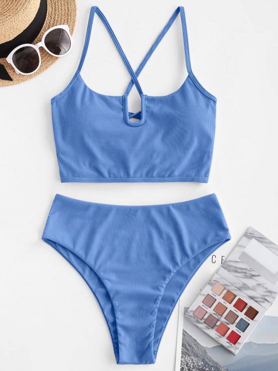 online ZAFUL U Wired Ribbed Lace-up Tankini Swimwear - BLUE M