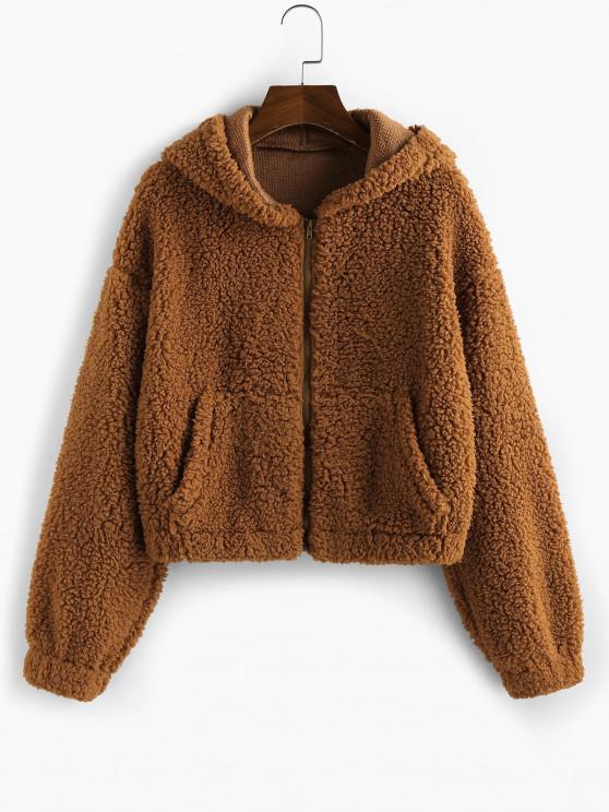 best ZAFUL Faux Fur Drop Shoulder Hooded Coat - CARAMEL S