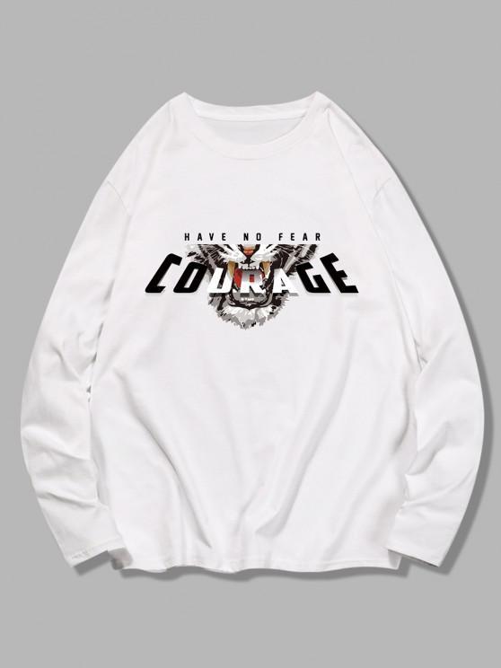 women's Long Sleeves Courage Tiger Pattern T-shirt - WHITE M