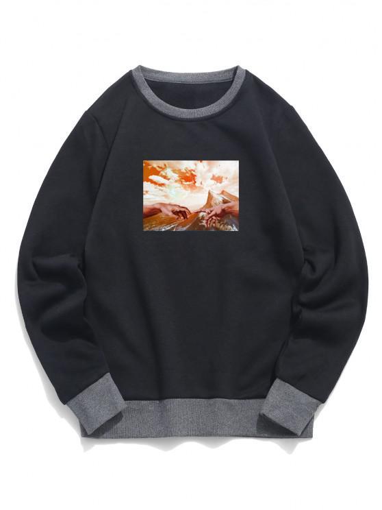 Mountain Sky Finger Pattern Colorblock Fleece Sweatshirt - أسود L