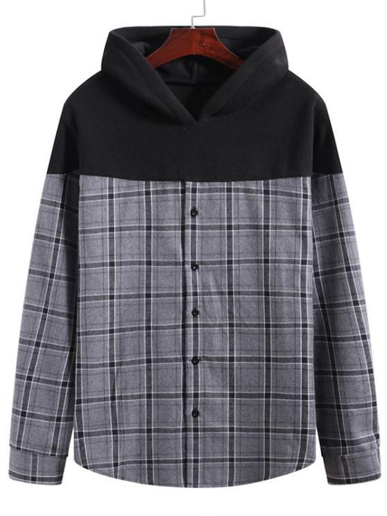 Grid Print Button Up Fleece Patch Hoodie - متعددة-A 3XL