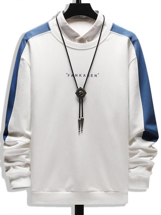 best Color Blocking Letter Print Crew Neck Sweatshirt - WHITE XS