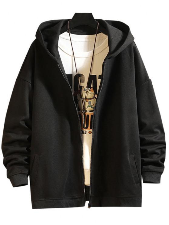 fashion Zip Up Hanzi Print Oriental Hoodie Jacket - BLACK M