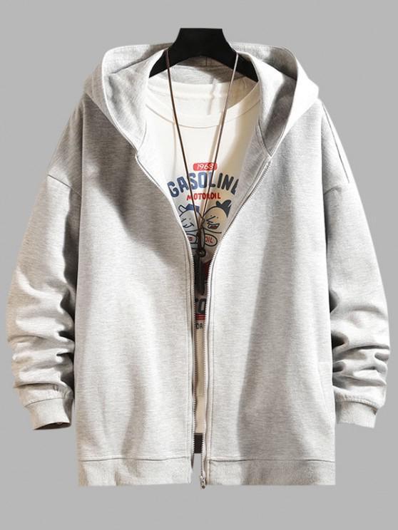 Zip Up Hanzi Print Oriental Hoodie Jacket - بلاتين 4XL