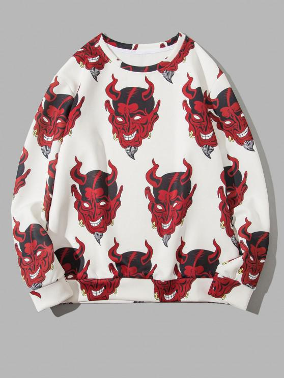 affordable Terrible Devil Pattern Pullover Sweatshirt - WHITE XL