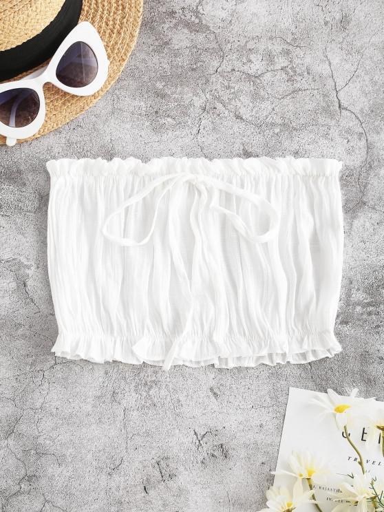 Rüschensaum Bowknot Strand Bandeau Top - Weiß Eine Größe