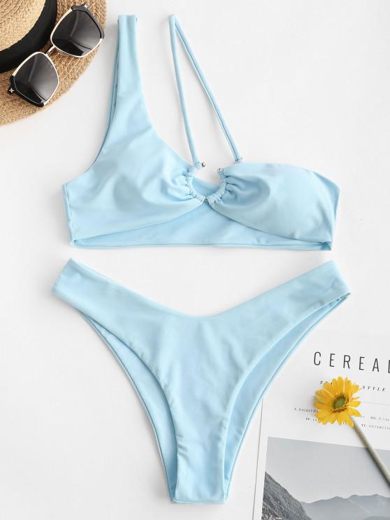 ZAFUL C Ring Einziger Schulter Bikini Badebekleidung mit Hohem Ausschnitt - Hellblau S