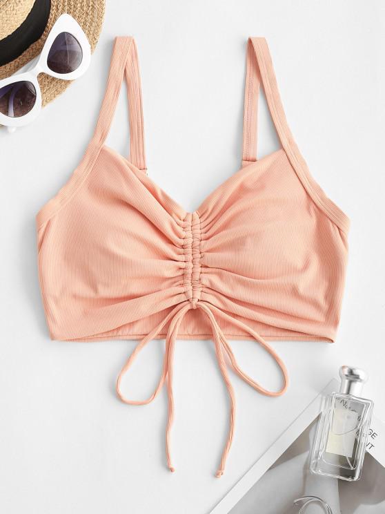 trendy ZAFUL Ribbed Cinched Plain Swim Top - LIGHT ORANGE S