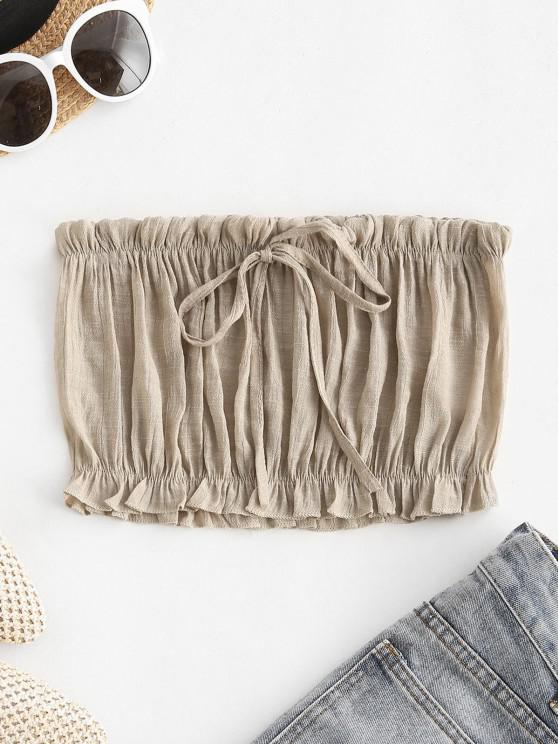 trendy Ruffle Hem Bowknot Beach Bandeau Top - LIGHT COFFEE ONE SIZE