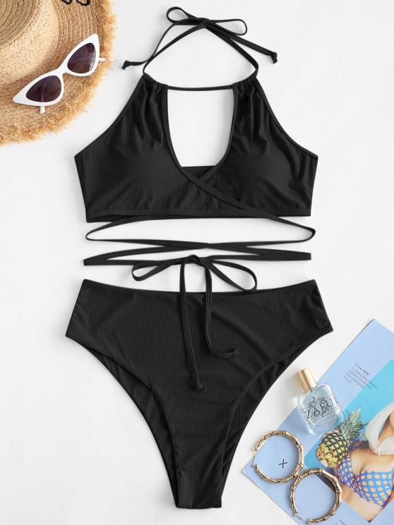 ZAFUL Halter Ribbed Wrap Tankini Swimwear - أسود S