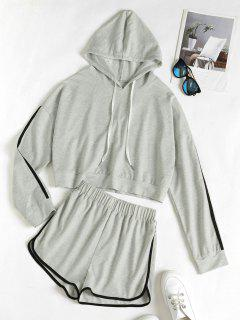 Hooded Drop Shoulder Contrast Tape Dolphin Shorts Set - Light Gray M