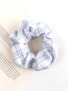Plaid Printed Fabric Scrunchie - White