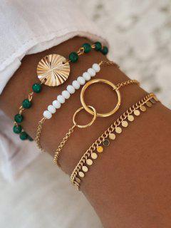 4 Pcs Discs Circle Shape Beaded Bracelets Set - Golden