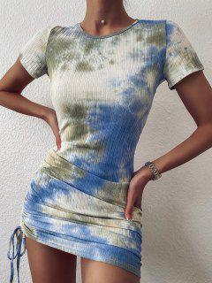ZAFUL Cinched Tie Dye Ribbed Bodycon Dress - Light Blue L