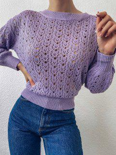 Crew Neck Lace Up Pointelle-knit Pullover Sweater - Purple