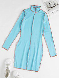 Vestito Aderente Con Impuntura E Collo Alto - Blu Dodger  S