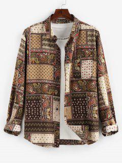 ZAFUL Bohemian Patchwork Print Long Sleeve Pocket Shirt - Multi 2xl