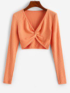 Twist Front Ribbed Cropped Knitwear - Orange M