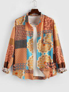 ZAFUL Paisley Flower Patch Print Long Sleeve Shirt - Deep Yellow S