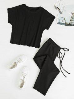 Ensemble De T-shirt Simple Et De Pantalon à Taille Nouée - Noir Xl