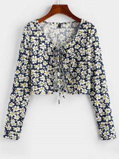 ZAFUL Daisy Print Front Tie Cropped Tee - Deep Blue S