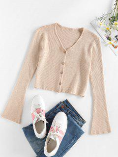 ZAFUL Flare Sleeve Cropped Cardigan - Light Coffee L