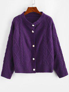 Cable Diamond Knit Fisherman Cardigan - Purple