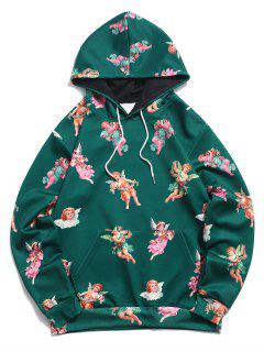 Kangaroo Pocket Renaissance Art Angel Print Hoodie - Medium Sea Green 2xl