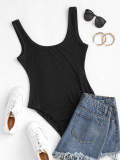ZAFUL Rib Knit Low Scoop Bodysuit - Black Xl