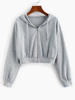 ZAFUL Drop Shoulder Hooded Crop Jacket - Ash Gray Xl