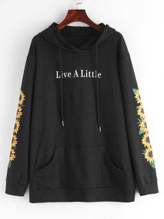 ZAFUL Kangaroo Pocket Sunflower Graphic Pullover Hoodie - Black L