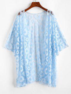Plus Size Floral Mesh Cover-up Kimono - Light Blue 1xl