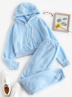 Lounge Fuzzy Two Piece Hoodie And Pants Set - Light Blue L