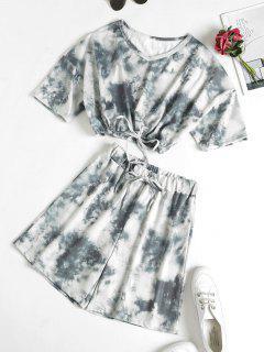 Tie Dye Drop Shoulder Drawstring Bermuda Shorts Set - Gray L