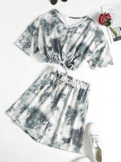 Tie Dye Drop Shoulder Drawstring Bermuda Shorts Set - Gray M
