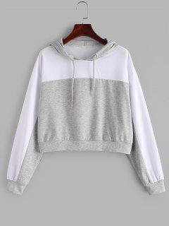 ZAFUL Two Tone Drop Shoulder Pullover Hoodie - Platinum Xl