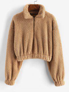 Plush Half Zip Drop Shoulder Crop Sweatshirt - Light Coffee Xl