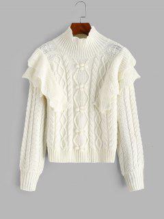Suéter De Malha De Cabo Com Babados Em Camadas - Branco
