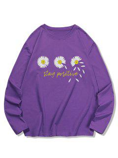 Triple Daisy Graphic Leisure Long Sleeve T Shirt - Purple Iris Xl