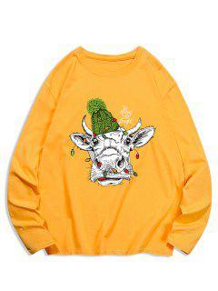 Long Sleeves Animal Printed T-shirt - Golden Brown L
