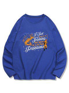 Fish Graphic Printed Long Sleeves T-shirt - Denim Dark Blue Xl