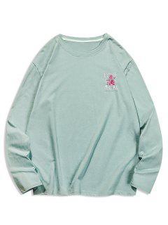 Blumen Buchstabe Graphik Rundhalsausschnitt Lässiges T-Shirt - Dunkler Türkis 2xl