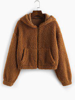ZAFUL Faux Fur Drop Shoulder Hooded Coat - Caramel S