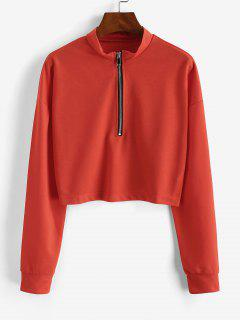Half Zip Cropped Pullover Sweatshirt - Orange M