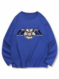 Long Sleeves Courage Tiger Pattern T-shirt - Cobalt Blue L